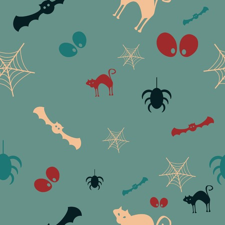 Halloween vector pattern with colored elements 向量圖像