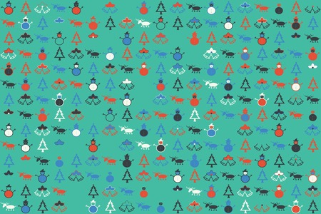 Christmas pattern with beautiful colored elements illustration. Illustration