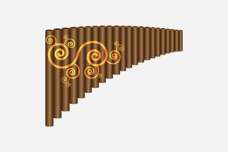 Pan flute instrument, vector illustration isolated on white background Illustration