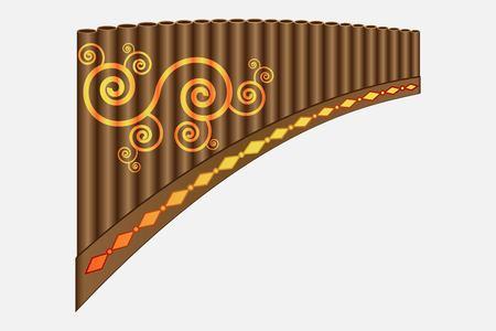 Pan flute instrument, vector illustration isolated on white background Illustration