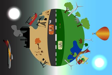 Environmental pollution illustration, comparative concept with clean and dirty earth, alternative energy source vector illustration