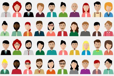 Groep mensen diversiteit, man en vrouw avatar pictogram. Mensen icon set. Vector illustratie van platte ontwerp mensen personages.