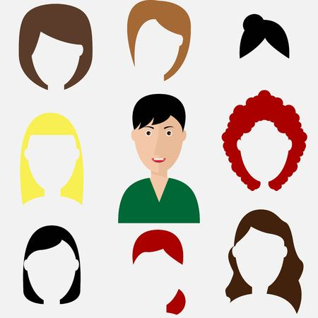 Haircuts of woman avatar, vector illustration isolated on white background