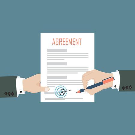 Mang podpisuje umowę na papierowy dokument, a druga ręka trzyma papier. Ilustracja wektorowa w płaskiej konstrukcji