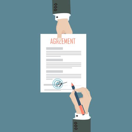 Mang sing paper document agreement and another man hand keeping the paper. Vector illustration in flat design