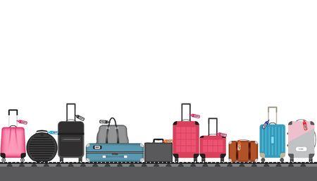 Ilustración de vector de cinta transportadora del aeropuerto con bolsas de equipaje de pasajeros