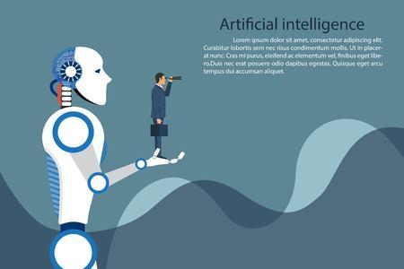 Artificial intelligence robot holding businessman in hand. Future technology symbol, innovation and progress. Vector illustration in flat design. Ilustrace