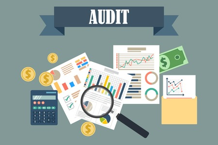 Auditing concept vector illustration. Tax process. Business background. Flat design of analysis, data, accounting, planning, management, research, calculation, reporting, project management. Vector Illustratie