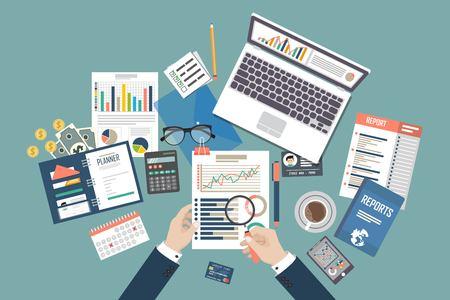Auditing-Konzept-Vektor-Illustration. Steuerverfahren. Business-Hintergrund. Flaches Design von Analyse, Daten, Buchhaltung, Planung, Verwaltung, Forschung, Berechnung, Berichterstattung, Projektmanagement.