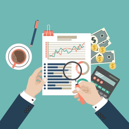 Auditing concept vector illustration. Tax process. Business background. Flat design of analysis, data, accounting, planning, management, research, calculation, reporting, project management.