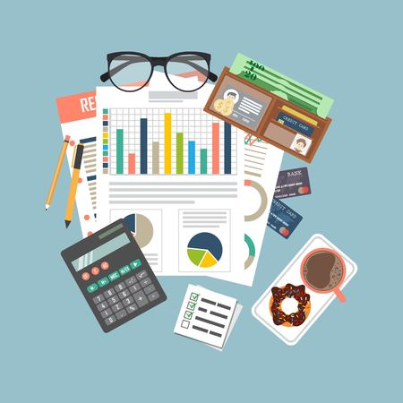 Auditing concept vector illustration. Tax process. Business background. Flat design of analysis, data, accounting, planning, management, research, calculation, reporting, project management. Zdjęcie Seryjne - 121529222