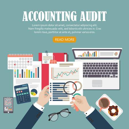 Ilustracja wektorowa koncepcja audytu. Proces podatkowy. Zaplecze biznesowe. Płaska konstrukcja analizy, danych, rachunkowości, planowania, zarządzania, badań, obliczeń, raportowania, zarządzania projektami. Ilustracje wektorowe