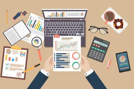 監査概念ベクトルの図。税務プロセス。ビジネスの背景。分析、データ、会計、計画、経営、研究、計算、レポート、プロジェクト管理のフラットな設計。 ベクターイラストレーション