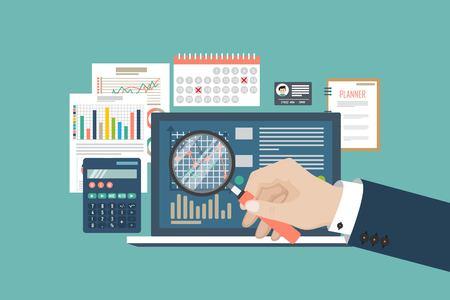 Illustrazione di vettore di concetto di controllo. Processo fiscale. Sfondo di affari. Design piatto di analisi, dati, contabilità, pianificazione, gestione, ricerca, calcolo, reportistica, gestione del progetto.