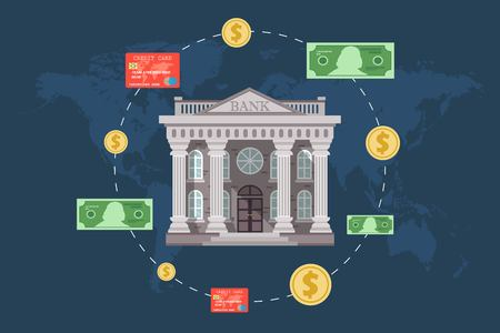 Concept of global foreign exchange market, banking system, banking trade, banking concept. Vector illustration in flat design