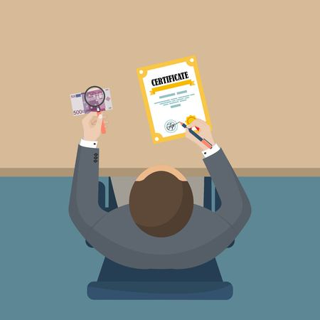 Buying diploma. School bribery. Flat vector illustration Ilustrace