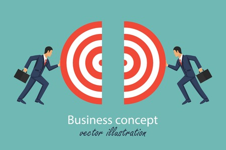 Business connection concept. Symbol of working togather. Partnership. Two businessmen connecting part of target. Cooperation interaction. Vector illustration in flat design Çizim