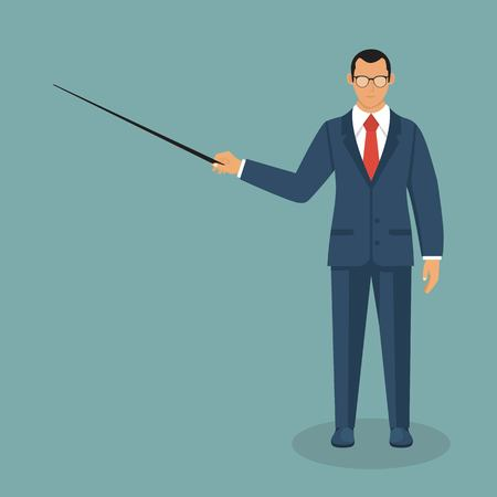 Businessman vector illustration in flat style. Male cartoon character in a business suit.