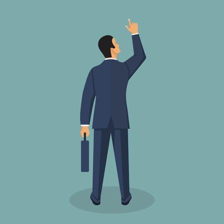 Illustrazione di vettore dell'uomo d'affari in stile piano. Personaggio dei cartoni animati maschile in giacca e cravatta. Vettoriali
