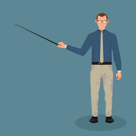 Businessman with pointer in hand vector illustration in flat style