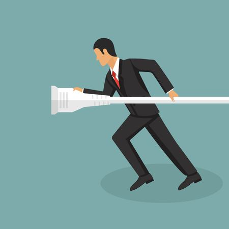 Business man in suit running vector illustration in flat style