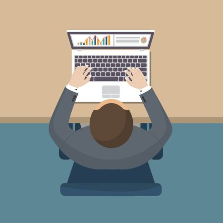 Business man working at desk. Vector illustration in flat design. Top view