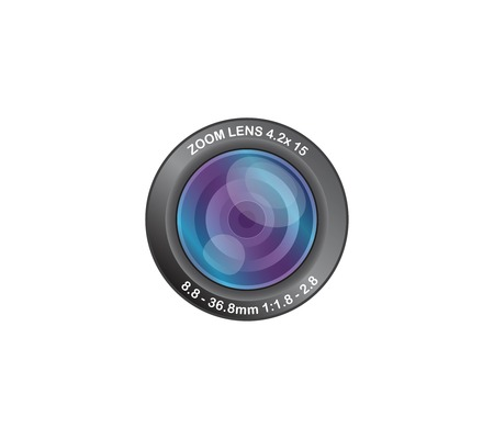 Camera photo lens isolated on white background