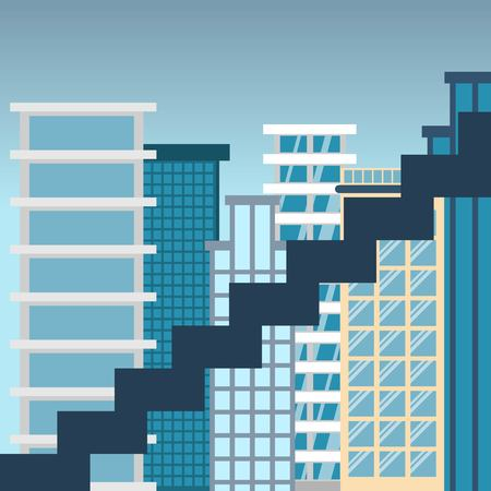 Career ladder against the backdrop of a big city. Concept of development and growth for business and progress. Vector illustration in flat design.