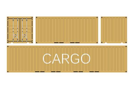 Shipping cargo container isolated on white background Illustration