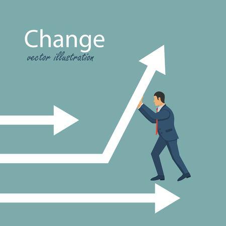 Change direction concept. Businessman change direction. Growth finance. Business methaphor. Vector illustration in flat design. Illustration