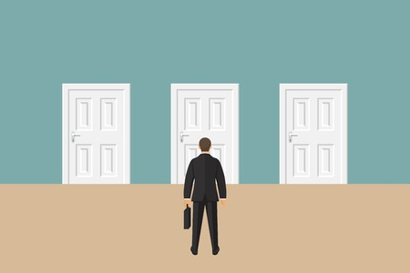 Choice way concept. Businessman stading in front of three closed doors. Decide direction. Business decision. Vector illustration in flat style Фото со стока - 121529687