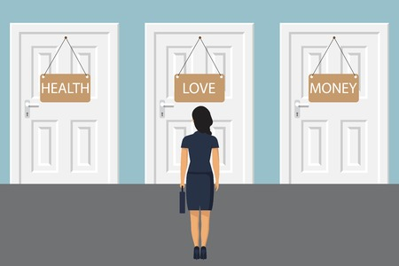 Choice way concept. Businessman stading in front of two closed doors. Decide direction. Business decision. Vector illustration in flat style