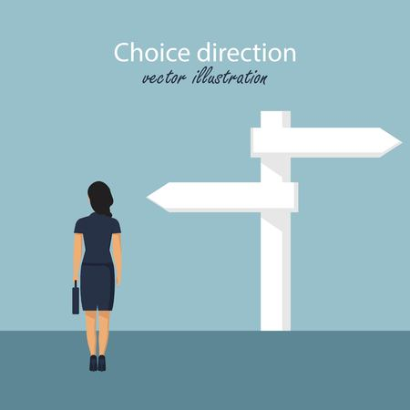 Direction choosing. Choice way concept. Business decision. Vector illustration in flat design.