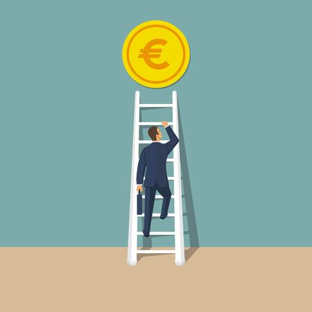 Businessman climbs up ladder. Way to succes. Vector illustration in flat style. Abstract finance background. Up stairs