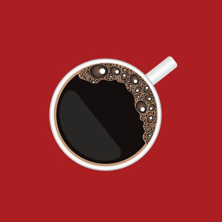 Coffee cup top view, vector illustration isolated on red background Ilustração