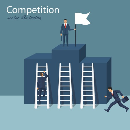 Concept of competition for victory. Business competition. Way to succes. Business man climb podium as symbol of competition, conflict. Vector illustration in flat design.