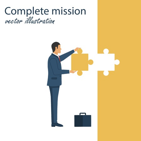 Complete mission concept. Businessman stading with piece of puzzle in his hands. Successful implementation plan. Execute plan. Vector illustration in flat design 矢量图像
