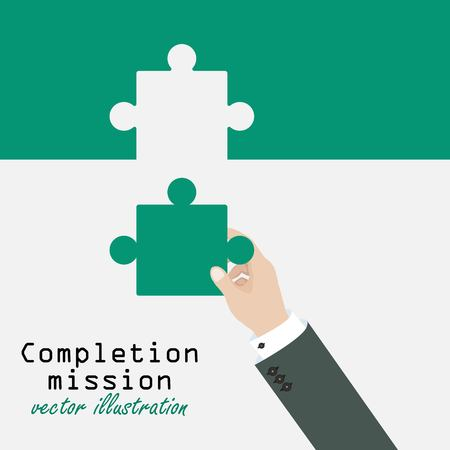 Completion mission concept. Businessman putting last puzzle in jigsaw. Successful implementation of plan. Vector illustration in flat design.
