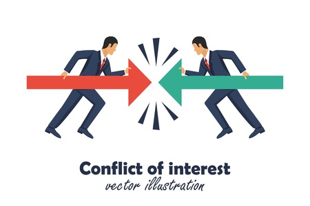 Conflict of interest concept. Two businessman keep arows against each other. Competitiveness symbol. Vector illustration in flat design.