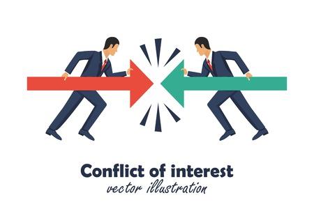 Conflitto di interessi concetto. Due uomini d'affari tengono le file l'una contro l'altra. Simbolo di competitività. Illustrazione vettoriale in design piatto. Vettoriali