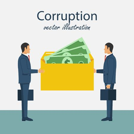 Bribery concept vector illustration. Corrupting icon. Giving and reciving cash. Funding, payday, donation. Vector illustration in flat design