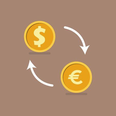 Currency exchange concept. Vector illustration in flat design. Çizim