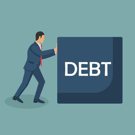 Debt concept vector illustration in flat design. Businessman pushes big debt. Financial crisis, crash financial, economic depression.