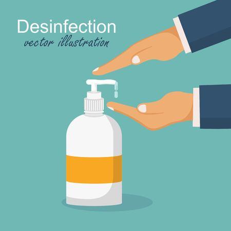 Desinfektionskonzept. Mann wäscht sich die Hände. Vektorillustration im flachen Design. Auftragen eines feuchtigkeitsspendenden Desinfektionsmittels.