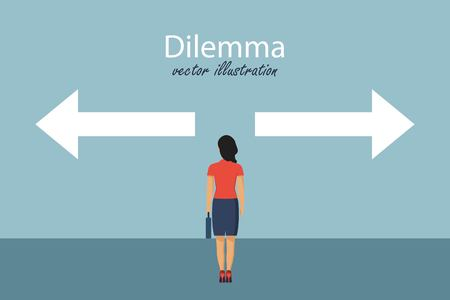 Dilemma concept. Direction choosing. Choice way concept. Business decision. Vector illustration in flat design.
