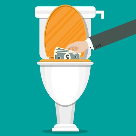 Businessman hand putting dollar bills in the toilet. Vector illustration in flat style.