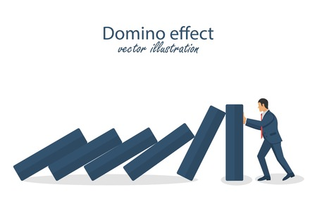 Domino effect. Successful intervention. Stopping chain reaction business solution. Vector illustration in flat design.