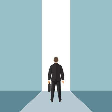 Businessman stading in front of open door. Entrance concept. Creative ideea. Startup. Look into future. Business methaphor. Direction achive goal. Vector illustration in flat style