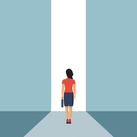 Businesswoman stading in front of open door. Entrance concept. Creative ideea. Startup. Look into future. Business methaphor. Direction achive goal. Vector illustration in flat style Ilustrace