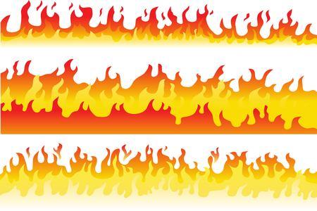 Conjunto de borde de marco de llama de fuego de dibujos animados. Ilustración de vector de fuego ardiente